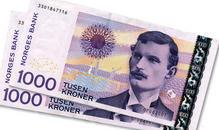 1000 kroner sedler i skråvifte